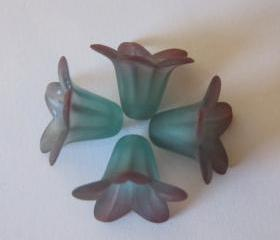 Two Tone Lily Flower Bead Frosted Aqua Coral Hand Dyed (6)
