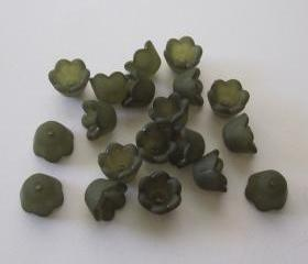Small Matte Frosted Forest Green Lucite Bell Flower (20)