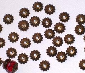 Antique Bronze Bead Cap Tiny 6mm (20)