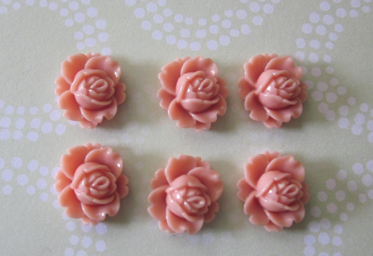 Cabochon Coral Cabbage Rose Flower (6)